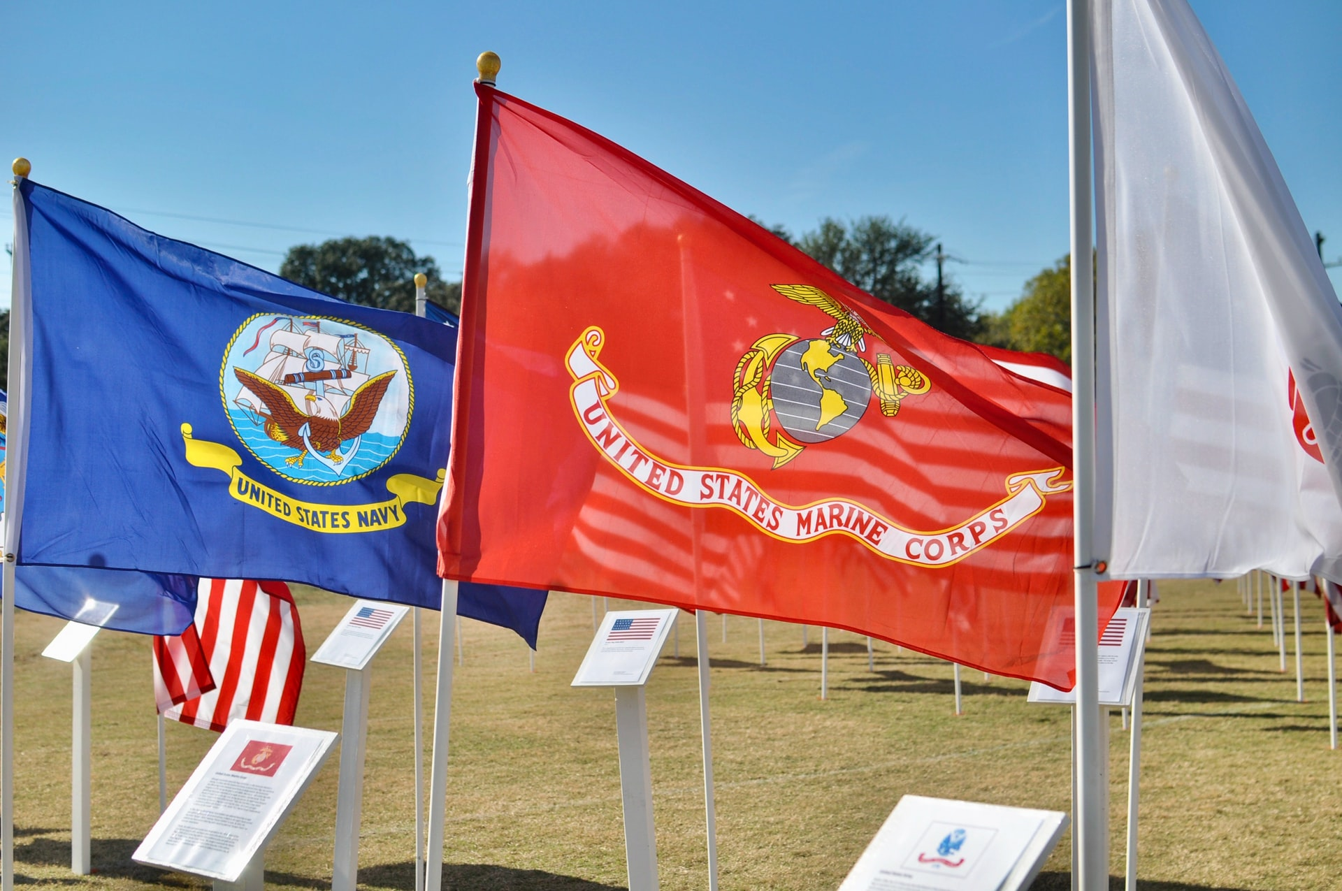 Veterans Command About Page Hero Banner Image - Different Flags of the US Military