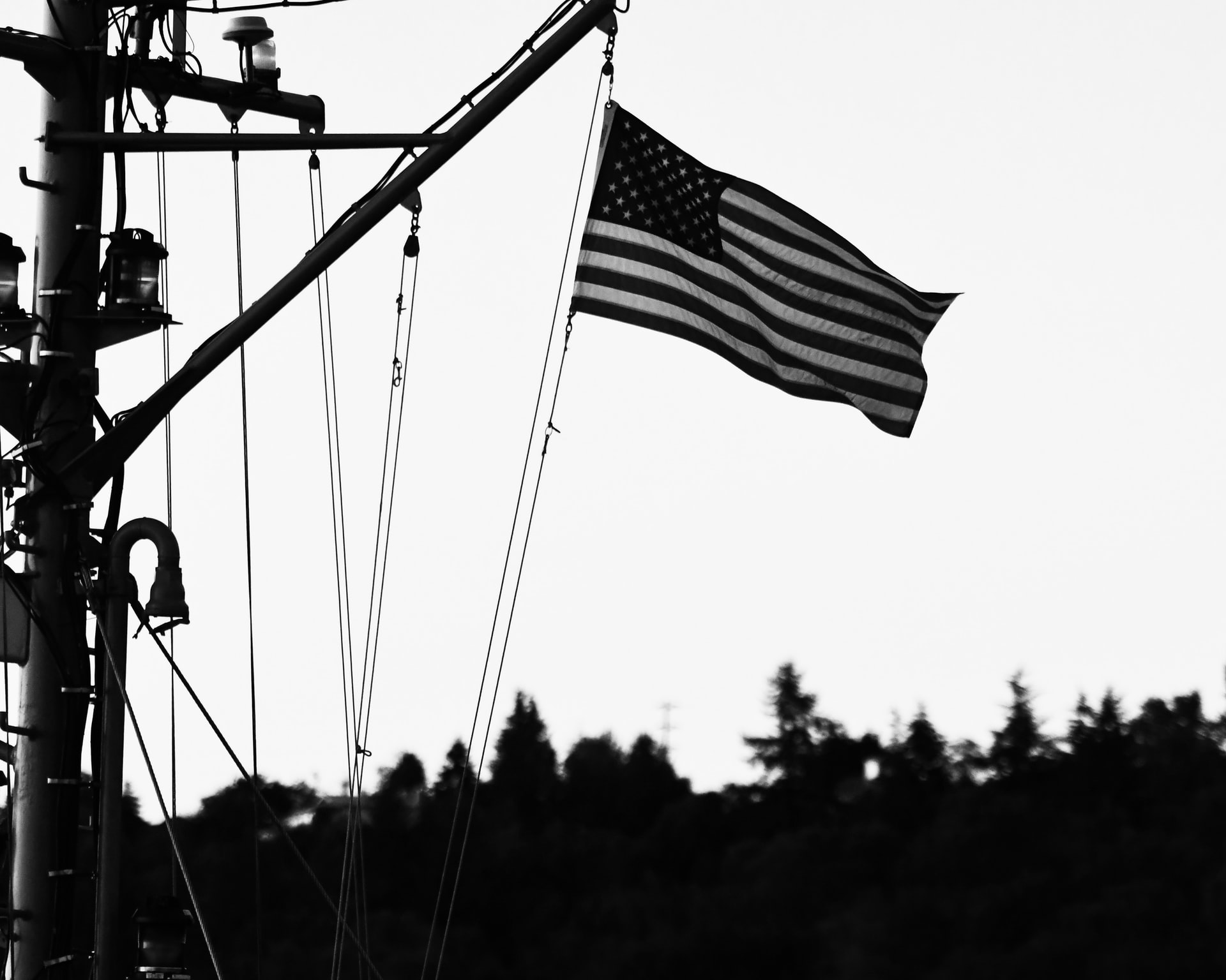 Veterans Command Mission Page - Hanging America Flag - Black and White